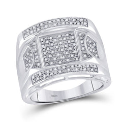 Sterling Silver Mens Round Diamond Square Cluster Ring 1/4 Cttw