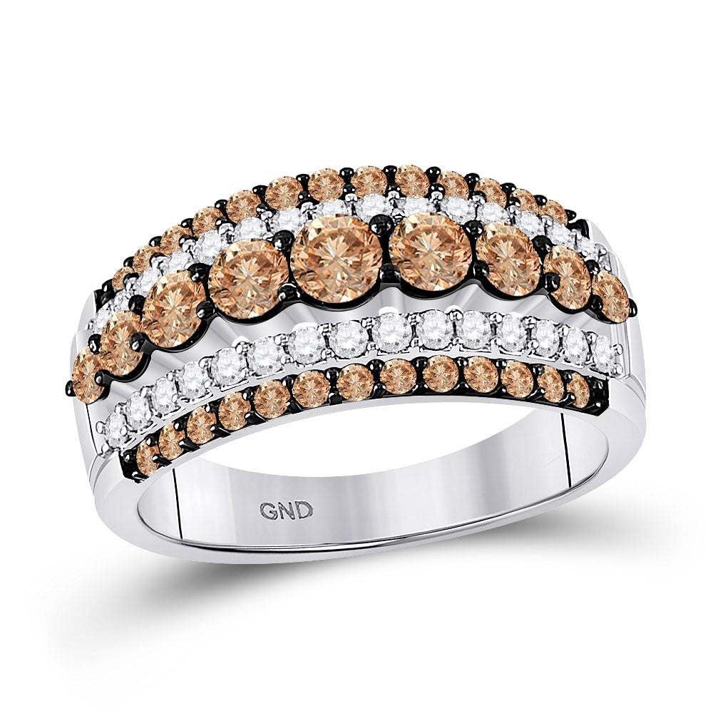 10kt White Gold Womens Round Brown Diamond Fancy Cocktail Ring 1-1/2 Cttw