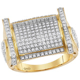 10kt Yellow Gold Mens Round Diamond Rectangle Cluster Ring 3/4 Cttw