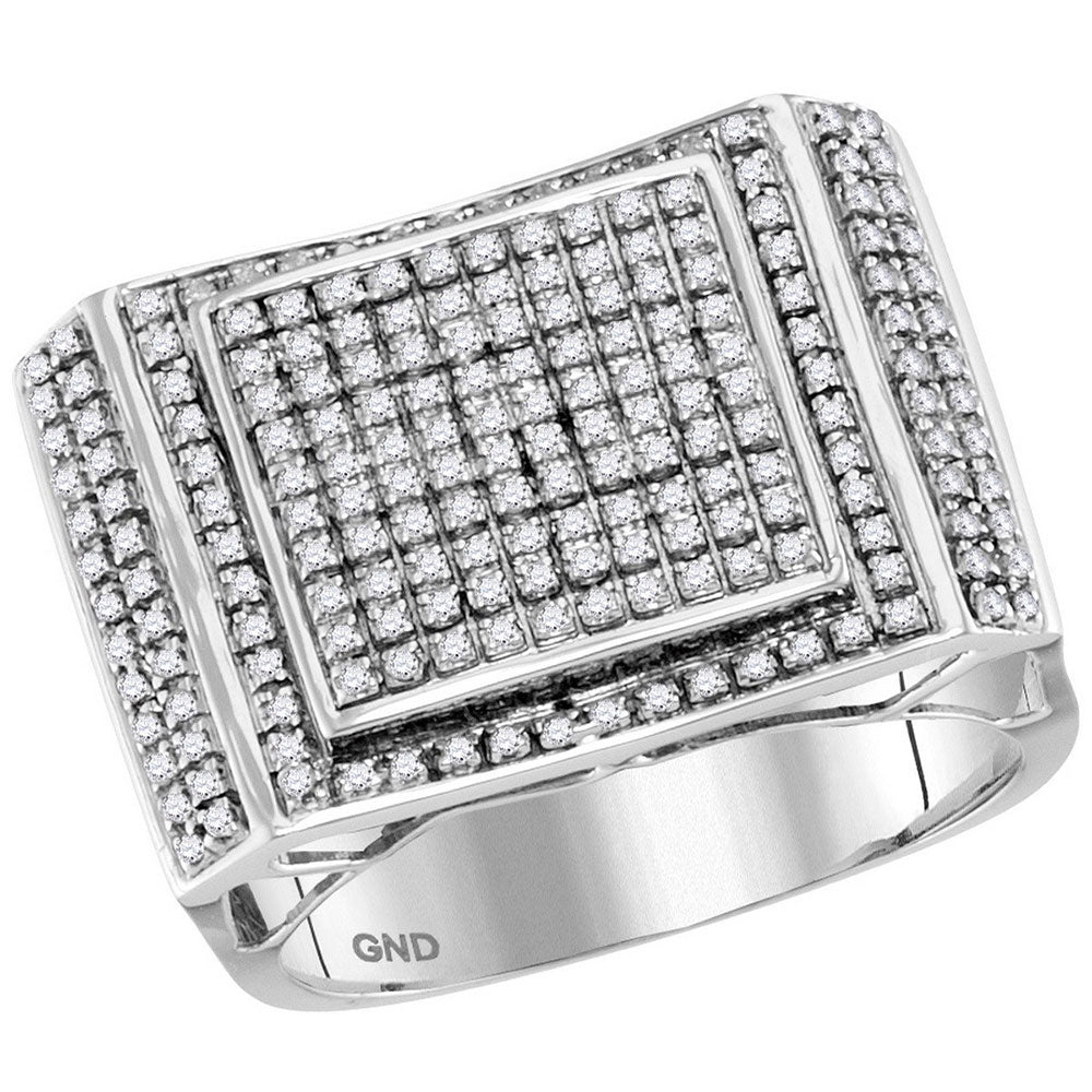 10kt White Gold Mens Round Diamond Square Cluster Ring 3/4 Cttw