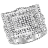 10kt White Gold Mens Round Diamond Square Cluster Ring 5/8 Cttw