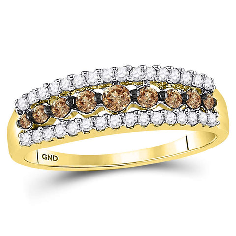 10k Yellow Gold Womens Brown Diamond Band Ring 1/2 Cttw Size 6