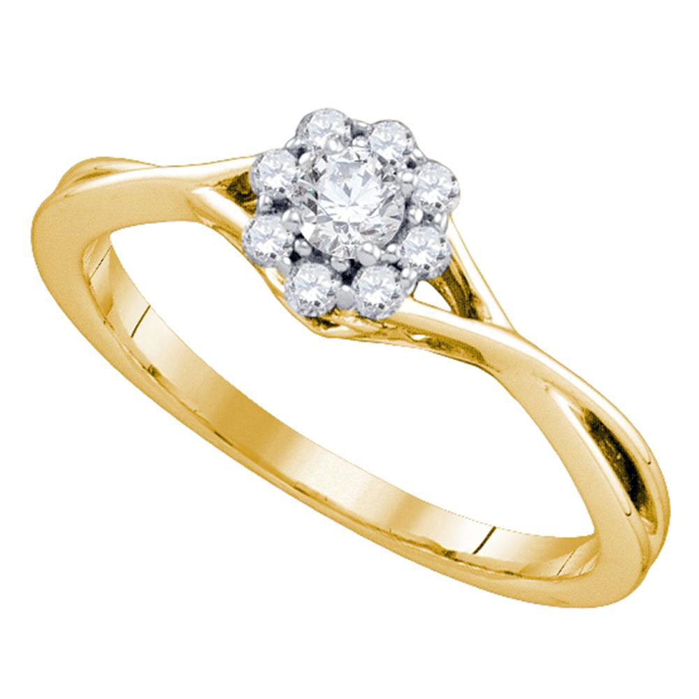 14kt Yellow Gold Womens Round Diamond Flower Cluster Promise Ring 1/4 Cttw