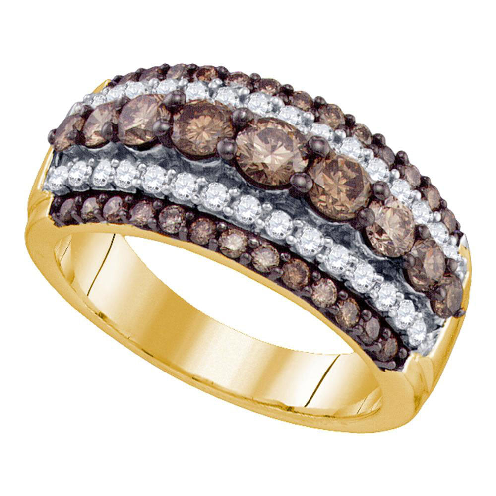 10kt Yellow Gold Womens Round Brown Diamond Striped Cocktail Ring 1-1/2 Cttw
