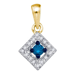 10kt Yellow Gold Womens Round Blue Color Enhanced Diamond Square Pendant 1/5 Cttw