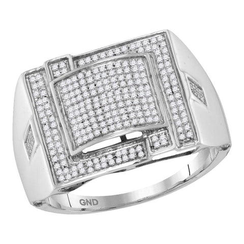 10kt White Gold Mens Round Diamond Domed Square Cluster Ring 3/8 Cttw
