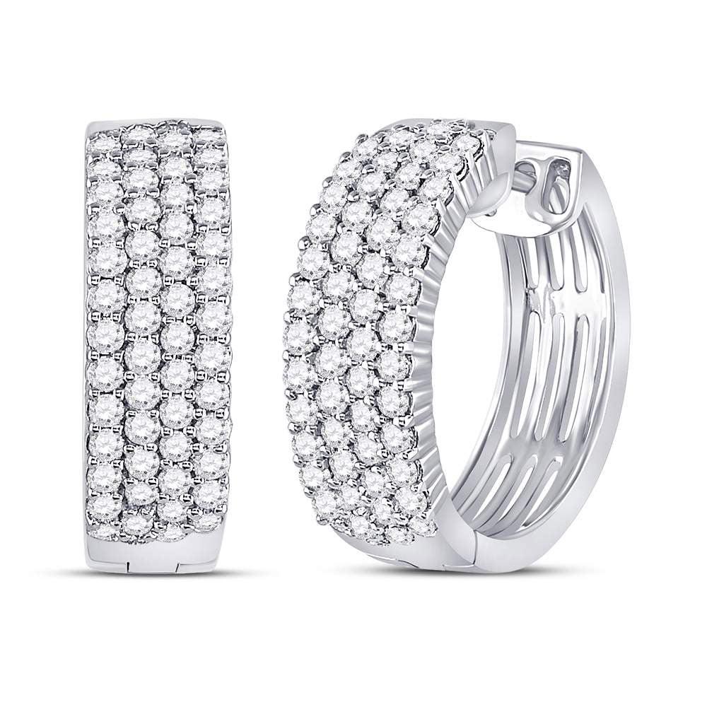 10kt White Gold Womens Round Diamond Huggie Earrings 2 Cttw