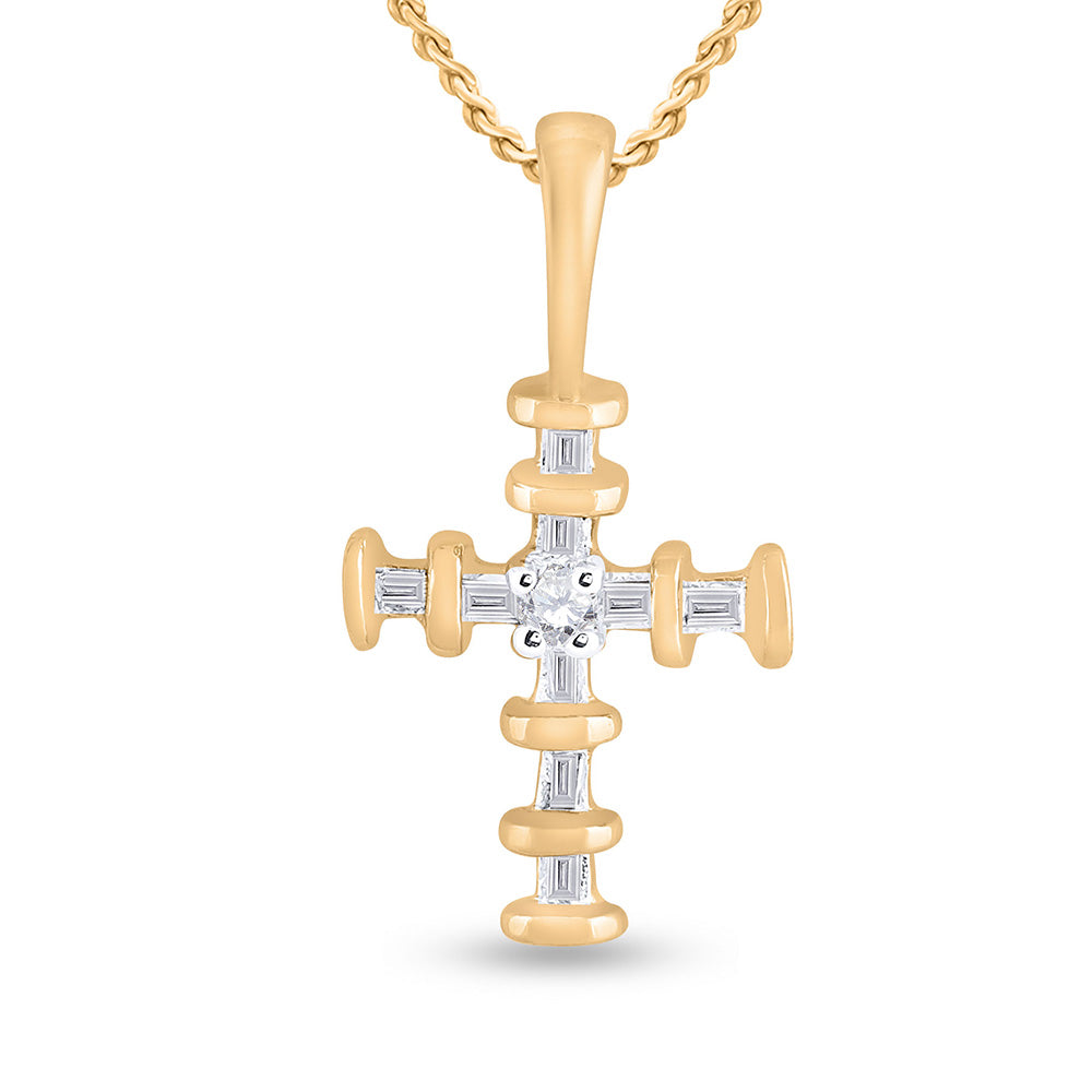 10kt Yellow Gold Womens Round Diamond Cross Pendant 1/8 Cttw