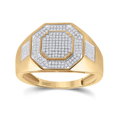 10kt Yellow Gold Mens Round Diamond Octagon Cluster Ring 3/8 Cttw