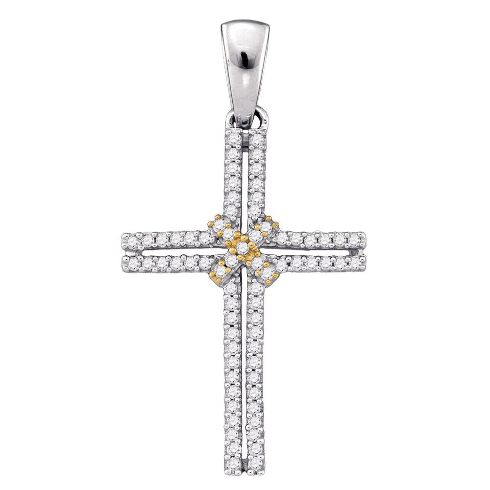 10kt Two-tone Gold Womens Round Diamond Bound Cross Religious Pendant 1/5 Cttw
