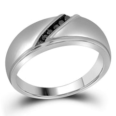 10kt White Gold Mens Round Black Color Enhanced Diamond Band Ring 1/8 Cttw