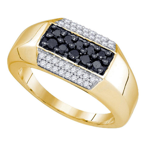 10kt Yellow Gold Mens Round Black Color Enhanced Diamond Cluster Band Ring 3/4 Cttw