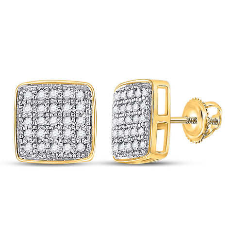 Yellow-tone Sterling Silver Womens Round Diamond Square Cluster Earrings 1/6 Cttw