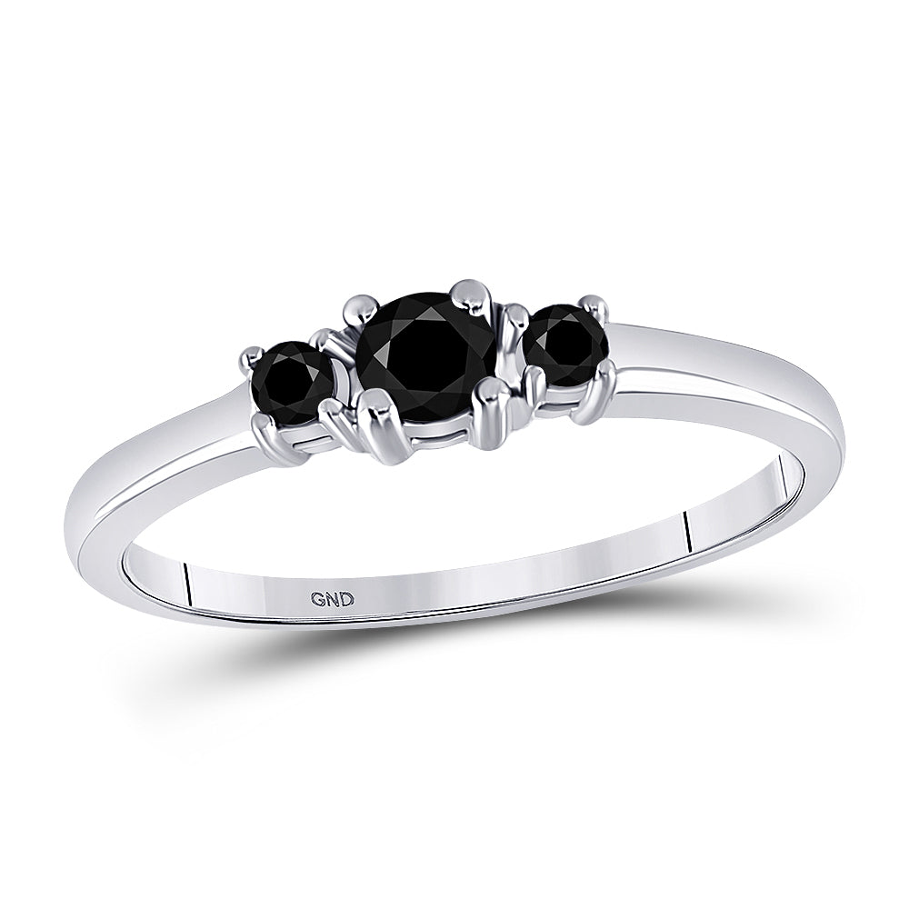 10k White Gold Black Color Enhanced 3-stone Diamond Bridal Wedding Engagement Ring 1/4 Cttw
