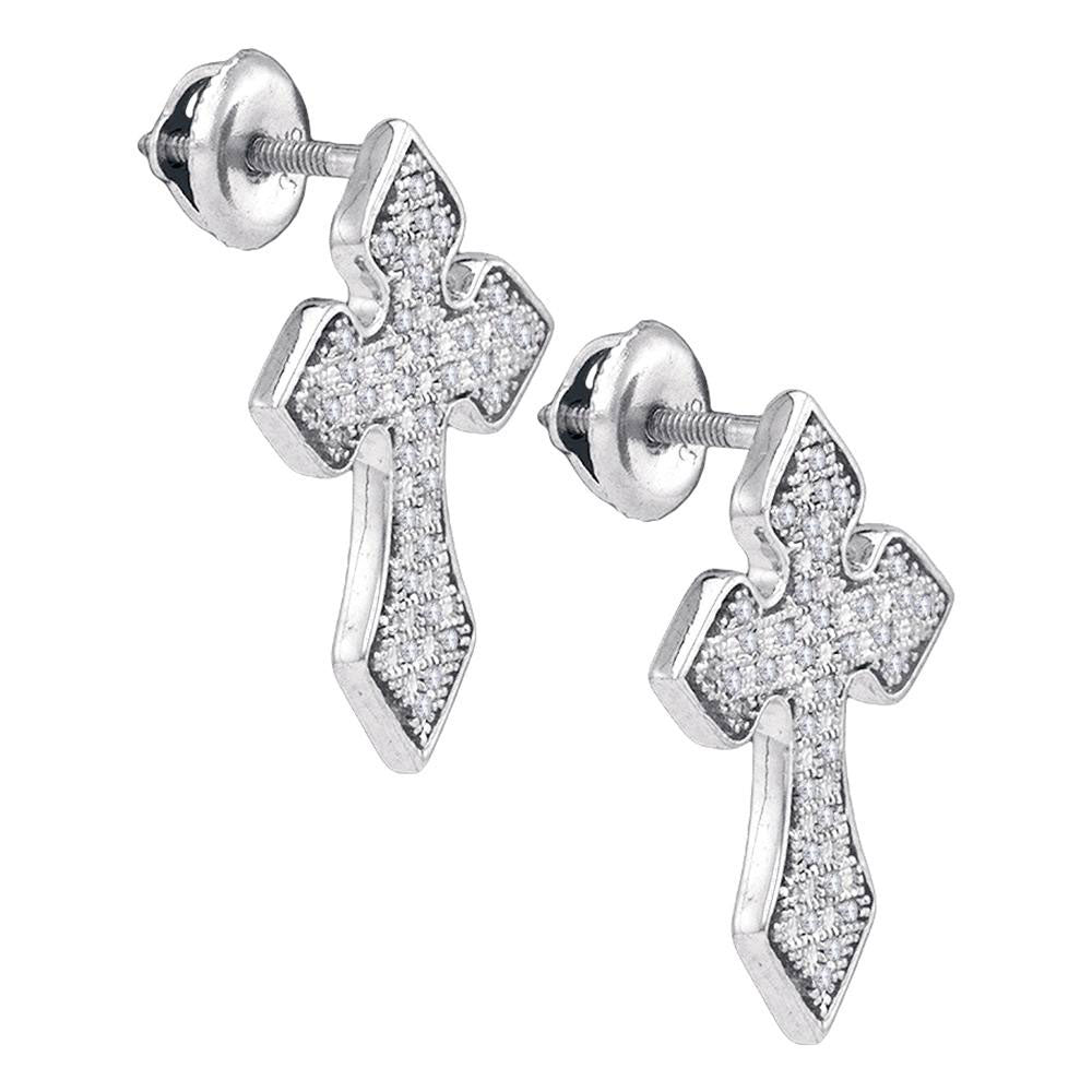 Sterling Silver Mens Round Diamond Flared Cross Crucifix Stud Earrings 1/5 Cttw