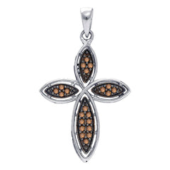 Sterling Silver Womens Round Brown Diamond Cross Pendant 1/4 Cttw