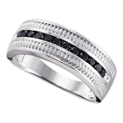 Sterling Silver Mens Round Black Color Enhanced Diamond Roped Band Ring 1/2 Cttw