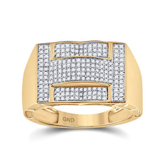 10kt Yellow Gold Mens Round Diamond Cluster Ring 1/2 Cttw