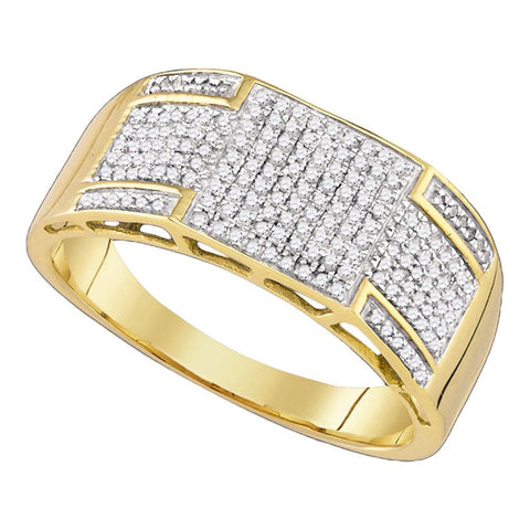 10kt Yellow Gold Mens Round Diamond Band Ring 3/8 Cttw