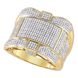 10kt Yellow Gold Mens Round Diamond Cluster Ring 1-1/4 Cttw