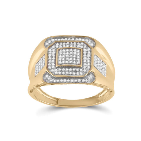 10kt Yellow Gold Mens Round Diamond Octagon Square Cluster Ring 1/2 Cttw