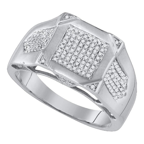 10kt White Gold Mens Round Diamond Square Cluster Ring 3/8 Cttw
