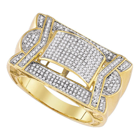 10kt Yellow Gold Mens Round Diamond Domed Cluster Ring 5/8 Cttw