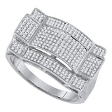 10kt White Gold Mens Round Diamond Rectangle Cluster Ring 1/2 Cttw