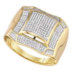 10kt Yellow Gold Mens Round Diamond Domed Cluster Ring 1/2 Cttw