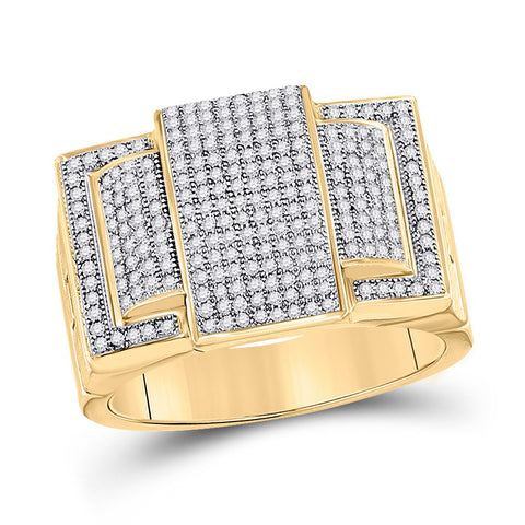 10kt Yellow Gold Mens Round Diamond Cluster Ring 3/4 Cttw