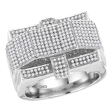 10kt White Gold Mens Round Diamond Rectangle Arched Cluster Ring 1 Cttw