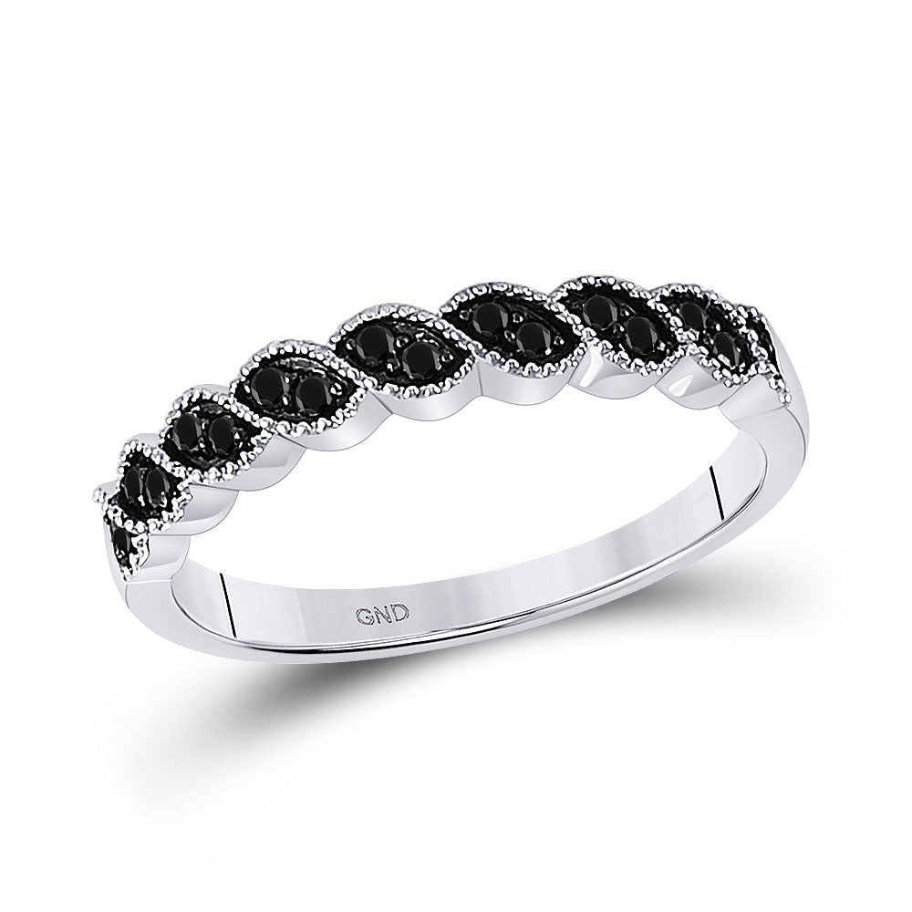 10k White Gold Black Color Enhanced Round Diamond Womens Wedding Anniversary Band 1/6 Cttw