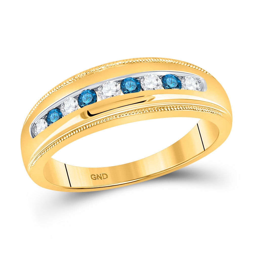 10kt Yellow Gold Mens Round Blue Color Enhanced Diamond Wedding Band Ring 1/2 Cttw