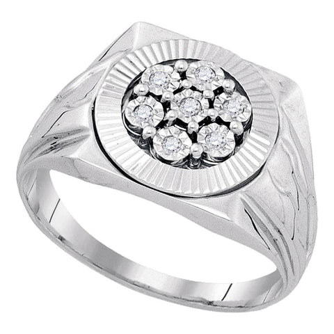 Sterling Silver Mens Round Diamond Flower Cluster Illusion-set Ring 1/10 Cttw