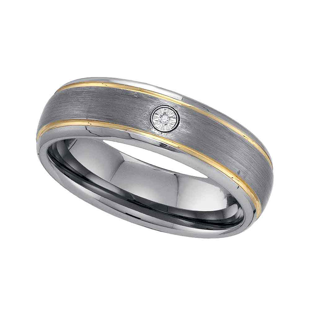 Two-tone Tungsten Carbide Mens Round Diamond Band Ring .01 Cttw Size 12