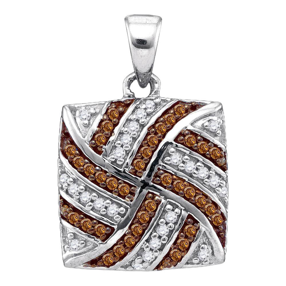 10kt White Gold Womens Round Brown Diamond Square Pendant 1/4 Cttw