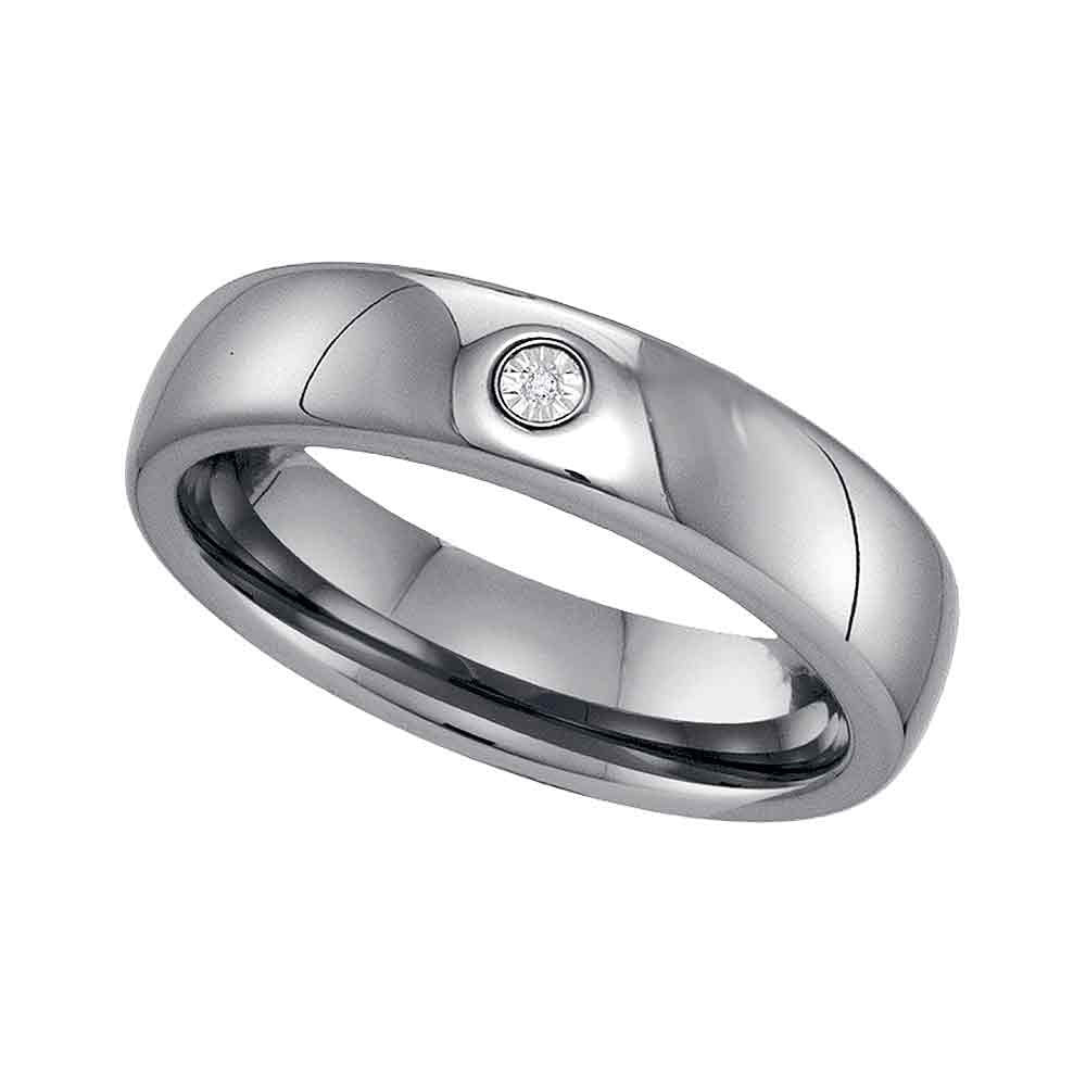 Tungsten Carbide Mens Round Diamond Band Ring .01 Cttw Size 8