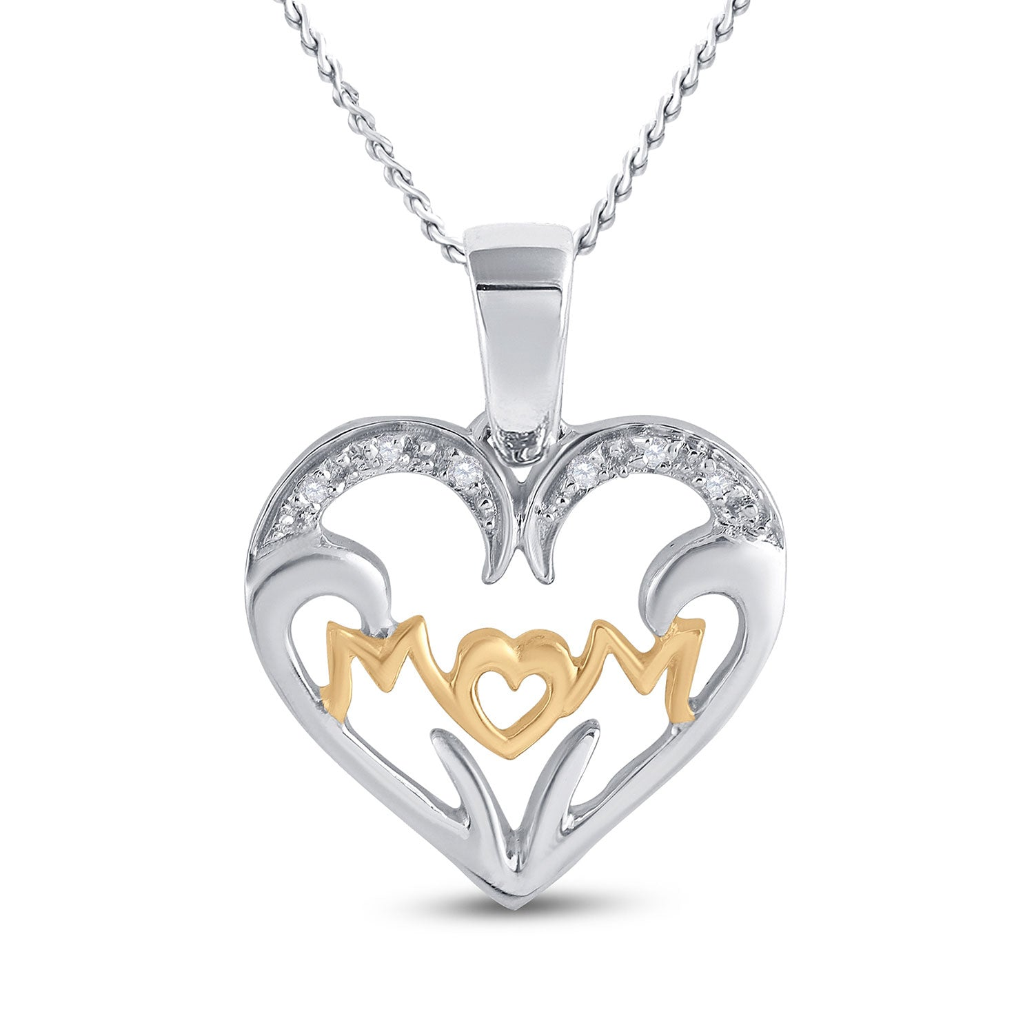 Two-tone Sterling Silver Womens Round Diamond Mom Heart Pendant .03 Cttw