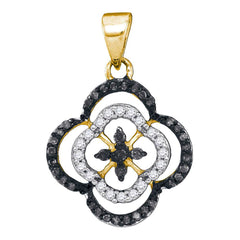 10kt Yellow Gold Womens Round Black Color Enhanced Diamond Fashion Pendant 1/4 Cttw