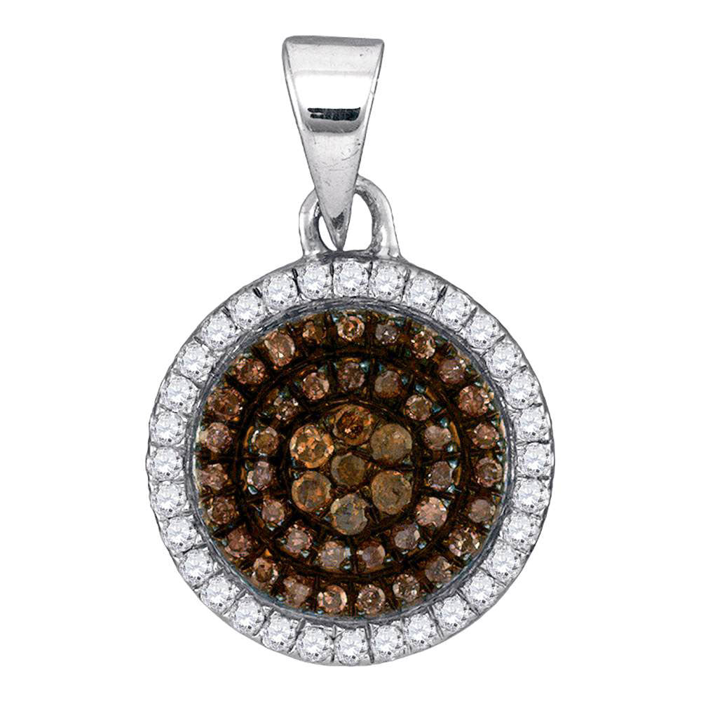 10kt White Gold Womens Round Brown Diamond Circle Frame Cluster Pendant 1/3 Cttw