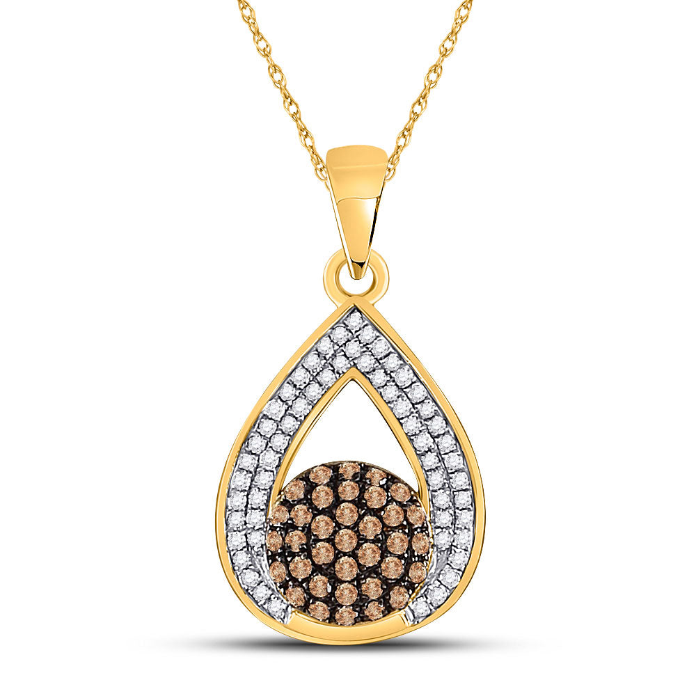 10kt Yellow Gold Womens Round Brown Diamond Teardrop Cluster Pendant 1/3 Cttw