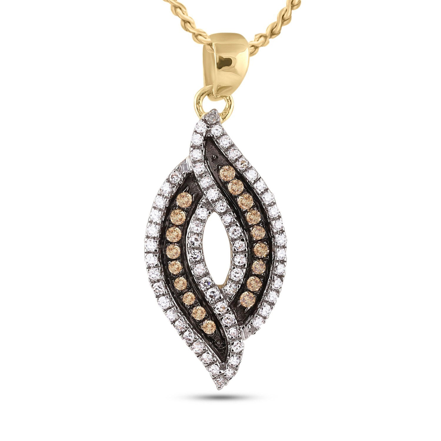 10kt Yellow Gold Womens Round Brown Diamond Fashion Pendant 1/3 Cttw
