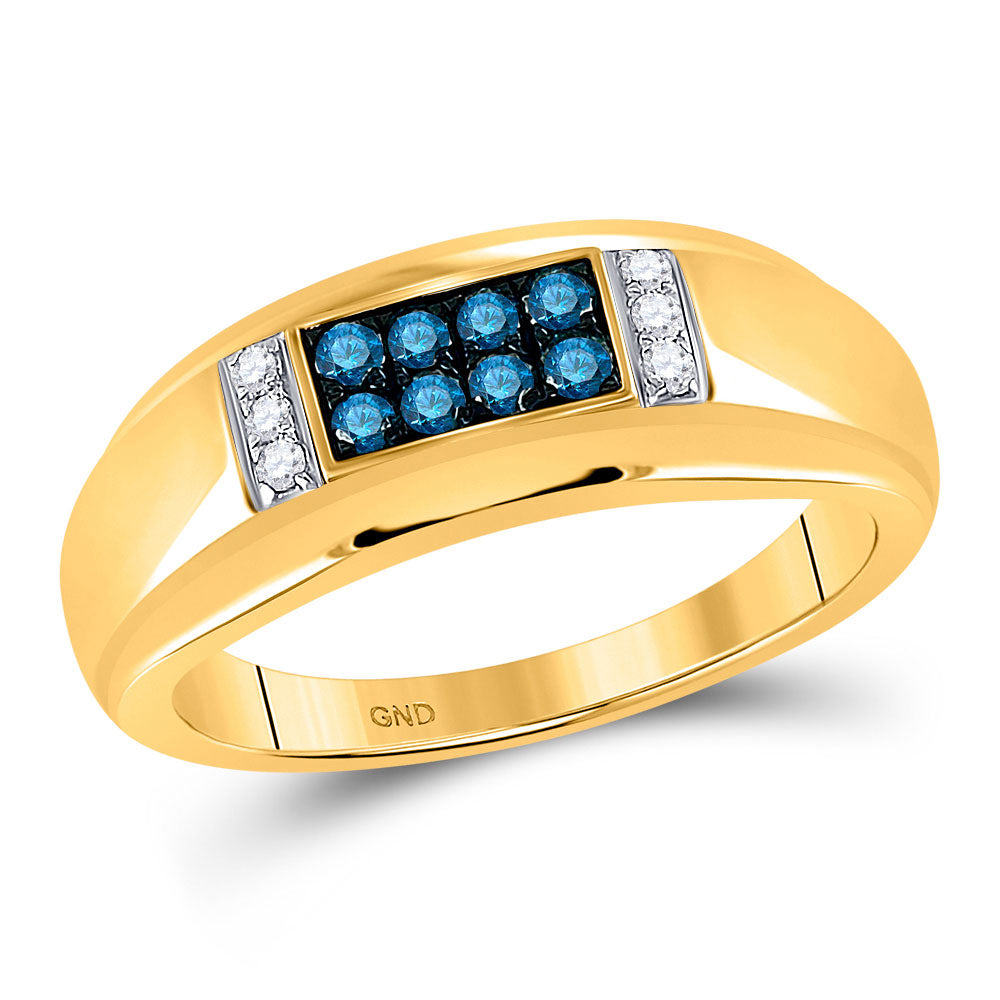 10kt Yellow Gold Mens Round Blue Color Enhanced Diamond Band Ring 1/3 Cttw