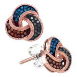 10kt Rose Gold Womens Round Multi Color Enhanced Diamond Trinity Earrings 1/5 Cttw
