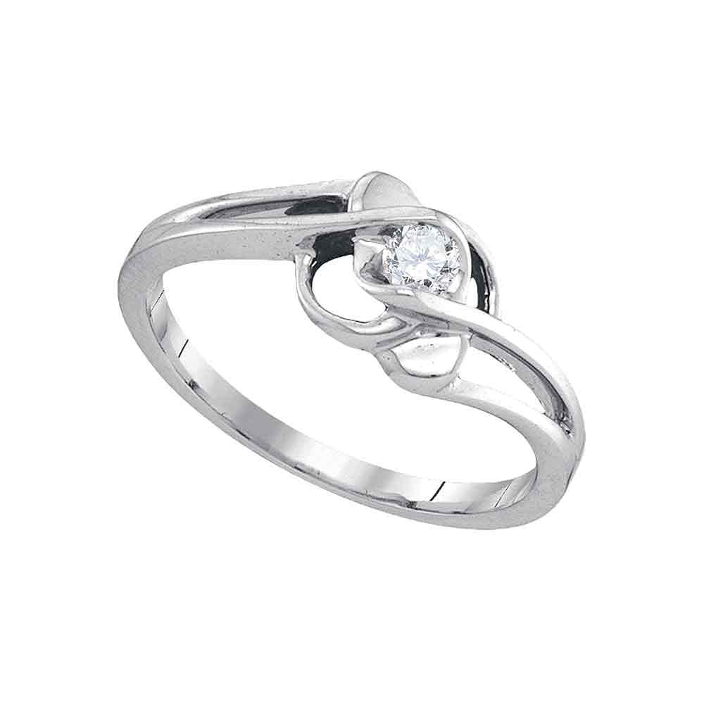 10kt White Gold Womens Round Diamond Solitaire Promise Ring 1/6 Cttw