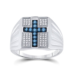 Sterling Silver Mens Round Blue Color Enhanced Diamond Cross Religious Ring 1/2 Cttw