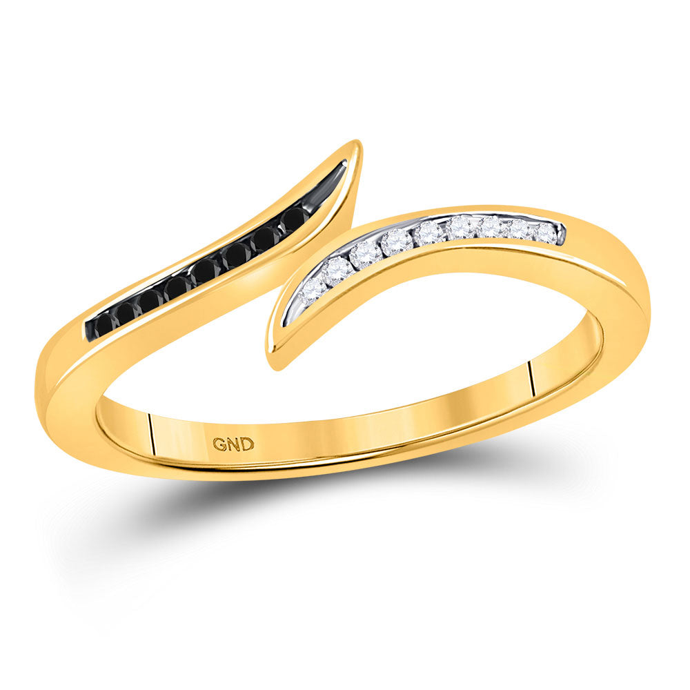 10k Yellow Gold Black Color Enhanced Diamond Womens Slender Bypass Band Ring 1/10 Cttw