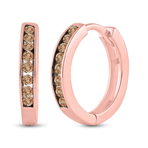 14kt Rose Gold Womens Round Brown Diamond Hoop Earrings 1/4 Cttw