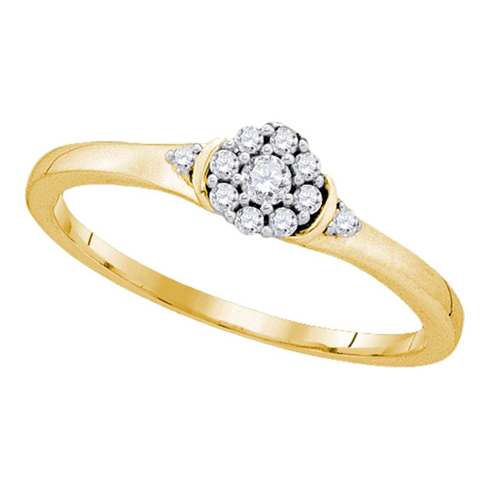 10kt Yellow Gold Womens Round Diamond Cluster Promise Ring 1/6 Cttw