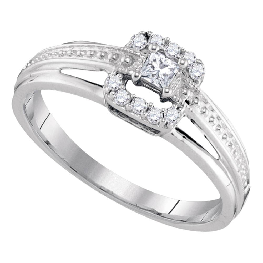 10kt White Gold Princess Diamond Solitaire Bridal Wedding Engagement Ring 1/5 Cttw